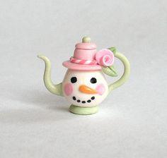 Miniature Shabby Rose Snowman Teapot  OOAK by C. by ArtisticSpirit