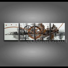 Astonishing Modern Abstract Painting Artist Oil Painting Stretched Ready To Hang Abstract. This 4 panels canvas wall art is hand painted by A.Qiang, instock - $155. To see more, visit OilPaintingShops.com