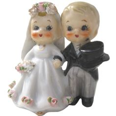 Vintage Wedding Cake Topper -1950's