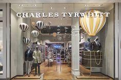 Window and instore scheme for Charles Tyrwhitt to launch their new store in the Westfield extension - designed and installed by Lucky Fox. #Charlestyrwhitt #Luckyfox #westfield  #windowdisplay #vm #vmsolutions #hotairballoons