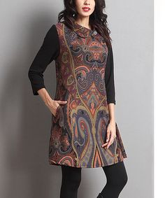 This Brown Paisley Button-Accent Tunic by Reborn Collection is perfect! #zulilyfinds