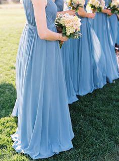 French blue dresses: http://www.stylemepretty.com/2015/01/29/french-blue-peach-southern-farm-wedding/ | Photography: Adam Barnes - http://www.adambarnes.com/