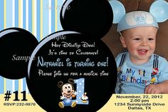 Baby Mickey Mouse 1st Birthday Invitation with by LetsPartyShoppe