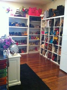 racks of shoes and purses