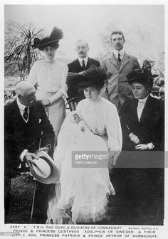 European Royalty, c1906-c1907(?). Prince Arthur, Duke of Connaught (1850-1942); Louise, Duchess of Connaught (1860-1917); Prince Gustaf Adolf of Sweden (1882-1973) and his wife, Princess Margaret of Connaught (1882-1920) and their baby son; Princess Patricia (1886-1974) and Prince Arthur of Connaught (1883-1938).