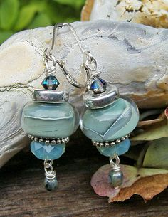 AEGEAN SEA handmade lampwork glass earrings silverfish designs