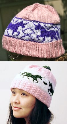 Free Knitting Pattern for Unicorn Fever Hat - Beanie with stranded colorwork of . Free Knitting Pattern for Unicorn Fever Hat - Beanie with stranded colorwork of unicorns and diamond pattern. Unicorn Knitting Pattern, Beanie Knitting Patterns Free, Hat Patterns, Knitting Ideas, Fair Isle Knitting, Knitting Yarn, Free Knitting, Knitted Hats, Crochet Hats