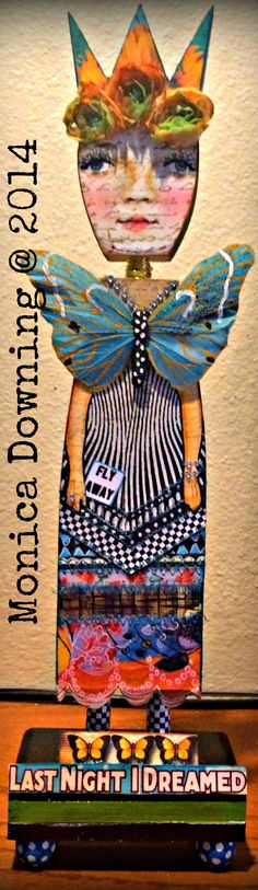 By Monica Downing, her first doll creation from the AWESOME class Mary Jane Chadbourne is teaching at artful gathering. The Imaginariam: Anthologies of an Art Doll with Mary Jane Chadbourne