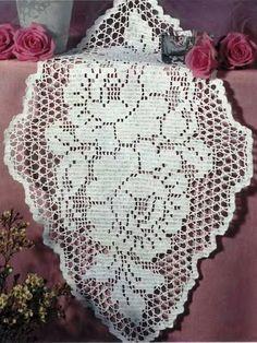Filet-Deckchen Rosen