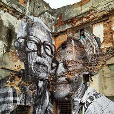 Colagem de um casal de idosos em Havana, Cuba. Do projeto Wrinkles of the City (Rugas da Cidade) de @jr