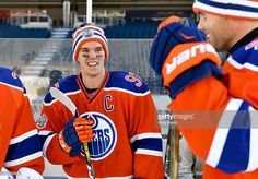 Connor McDavid of the Edmonton Oilers jokes around during practice in advance of the 2016 Tim Hortons NHL Heritage Classic game at Investors Group Field on October 2016 in Winnipeg, Canada. Great Sports Quotes, Sport Quotes, Hot Hockey Players, Nhl Players, Ice Hockey, Funny Sports Memes, Sports Humor, Connor Mcdavid, Tim Hortons