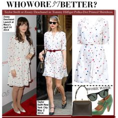 """""""Who Wore It Better?Taylor Swift or Zooey Deschanel in Tommy Hilfiger Polka-Dot Printed Shirtdress?"""" by kusja on Polyvore"""