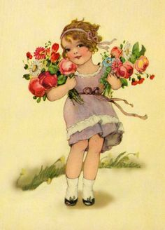 Shop Vintage Spring Flower Girl Postcard created by tyraobryant. Éphémères Vintage, Images Vintage, Vintage Ephemera, Vintage Pictures, Vintage Postcards, Vintage Prints, Vintage Labels, Images Victoriennes, Halloween Vintage