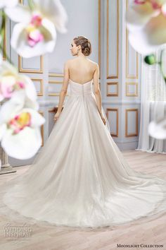 Moonlight Collection Spring 2016 Wedding Dresses | Wedding Inspirasi | Champagne, Soft Tulle Strapless A-Line Bridal Ball Gown Featuring A Lovely Sweetheart Neckline, Fitted Bodice, & Lush, Romantic Skirt With Chapel+ Length Train>>>>