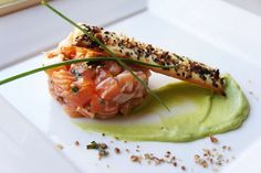 Salmon Tartare with Avocado-Wasabi Mousse and Furikake Tuile « A Kitchen for Friends Fish Recipes, Seafood Recipes, Gourmet Recipes, Cooking Recipes, Ceviche, Gourmet Appetizers, Appetizer Recipes, Salmon Starter, Tartare Recipe