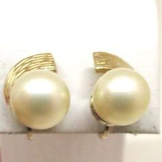 Pearl Earrings - Vintage, Ciner Signed, Classic, Gold Tone, Faux Pearls, Clip-on Earrings by MyDellaWear on Etsy