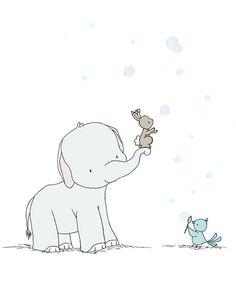 Elephant Nursery Art -- Catching Bubbles -- Elephant, Bunny, and Bird Friends --  Nursery Art Print -- Children Art, Kids Wall Art
