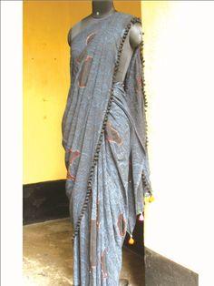 Gap print saree with beaded kantha edging #Indian #traditional