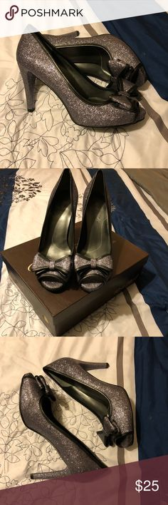 Rose Petals super cute heels Super cute Rose Petals peep toe heels. Size 11M. Color is pewter spark. Bow detail at top of toe area. Never worn. Excellent condition. Smoke free, pet friendly closet.  Wish I could actually walk in heels cause I think these are so cute. Shoes Heels