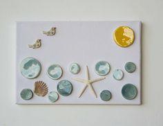 OOAK ceramic collage, Italian ceramic on canvas, sea landscape made in Italy, Italian ceramic picture,ceramic sea wall hanging made in Italy