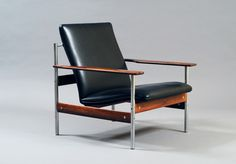 """Modell 1001 AF"" by Sven Ivar Dysthe, palisander and ox-hide leather with chrome steel, Norway ca 1960, first edition with thin seat"