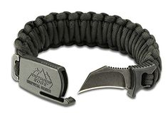 Outdoor Edge PCK-80C Para-Claw Paracord Knife Survival Bracelet -- Black, SIZE MEDIUM. For product & price info go to:  https://all4hiking.com/products/outdoor-edge-pck-80c-para-claw-paracord-knife-survival-bracelet-black-size-medium/