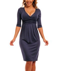 Another great find on #zulily! Graphite Gray V-Neck Empire-Waist Dress - Plus Too #zulilyfinds