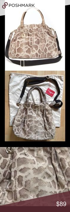 "CHARLES JOURDAN Hobo Satchel Python Snake Print According to Coco Chanel, snakeskin is the new black!! I kid, but it certainly is an on-trend pattern! This ""Kendra"" beauty from French fab maison of mode CJ is a soft, 100% leather suede in tasty tones of cocoa, taupe, tan, chocolate & cream. Has some wear on one of the handles & the print kind of fades - whether from use or deliberately, I can't tell. In decent shape for a pre-loved piece. (top pic is stock; rest are actual bag - add'l pix in…"