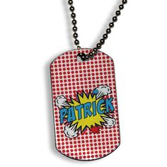 Holiday gifts for kids under $15: Personalized superhero dog tag necklace