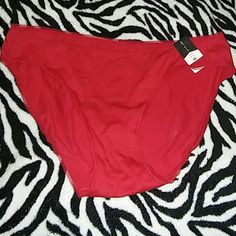 Ambrielle red bikini panties sz m new Ambrielle brand  New with tags Medium Red Lace trim Stitching is coming loose but no hoke its just the detail stitching Trade value 5 ambrielle Intimates & Sleepwear Panties