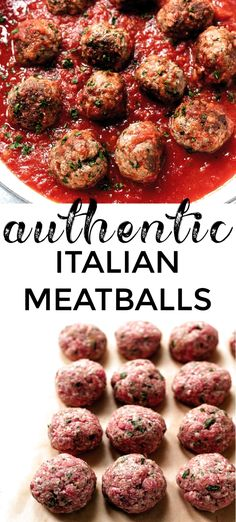 Classic Italian Meatballs A family-favorite: Authentic Italian meatball recipe, made with beef and pork and seasonings. Serve with quick homemade marinara or your favorite sauce. - The best classic Italian-American style meatballs recipe. Authentic Italian Meatballs, Italian Meats, Homemade Marinara, Classic Italian, Meatball Recipes, Pork, Breakfast, Ethnic Recipes, American