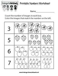 Printable Numbers Worksheet - Free Kindergarten Math Worksheet for Kids Number Worksheets Kindergarten, Numbers Preschool, Kindergarten Math Worksheets, Math Numbers, Worksheets For Kids, Kindergarten Websites, Measurement Worksheets, Tracing Worksheets, Learning Numbers