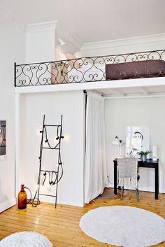 Studio apartment with loft bed