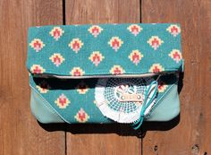 Clementine foldover Clutch in vintage teal by WatsonandMayberry, $48.00