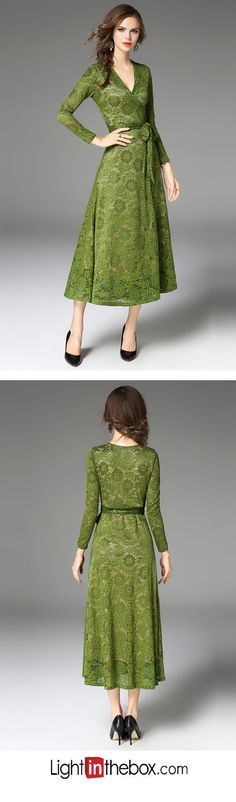 f76f48806c1   41.99  Women s Embroidery Party   Daily   Going out Vintage    Sophisticated Puff Sleeve A Line Dress - Solid Colored Lace   Bow V Neck  Fall Green L XL XXL