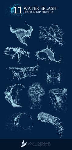 11 Water Splash Photoshop Brushes 水飛沫を表現できるブラシセット。化粧品素材の周辺で使うとシズル感を演出できそうです。