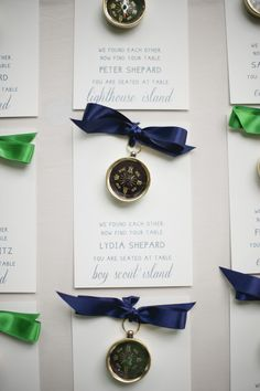 Compass escort cards. Letter Perfect.  Photography: Melissa Oholendt - melissaoholendt.com  Read More: http://www.stylemepretty.com/midwest-weddings/2014/02/26/green-white-nautical-wedding/