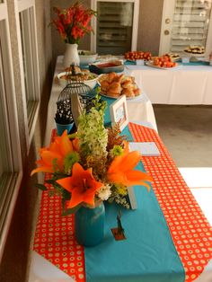 Wunderbar Orange And Blue Bird Themed Baby Shower