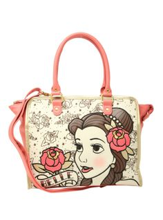 Canvas bag from Disney's Beauty and the Beast with an allover Belle tattoo design and pink faux leather trim.