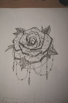 Rose tattoo with dot work chains