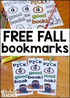 FREE fall booksmarks