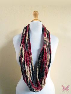Crochet scarf - EARTH TONES Infinity Chain scarf - Brown beige red - accessories - chunky - wool. $14.00, via Etsy.