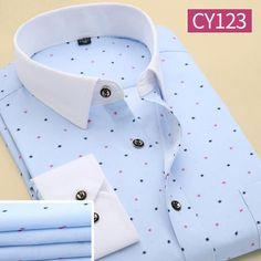 Men Polka Dot Printed Fashion Slim Long Sleeve Shirts Casual Polyester Dress Shirt Vestidos 4XL 19 Color