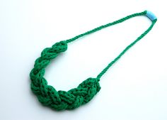 Long Braided Necklace - Upcycled T Shirt Yarn - Green. $28.00, via Etsy.