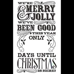 Merry Christmas Chalk Countdown Stencil  Select Size  por StudioR12