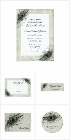 Vintage Peacock Feathers Wedding Suite
