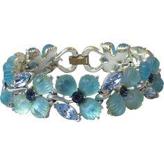 Superb Signed LISNER Molded Blue Glass & Rhinestone Flower Bracelet