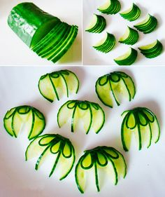 1 sculpture of fruit and vegetable: How to Make a - Food Carving - FingerFood İdeen Fruits Decoration, Vegetable Decoration, Food Crafts, Diy Food, Cucumber Flower, Deco Fruit, Food Art For Kids, Craft Kids, Craft Free