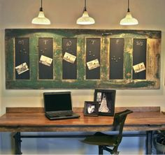 Clever repurposing! A vintage door becomes a message board. Source: www.donation2decor.com