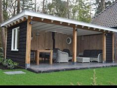 another shed turned outdoor seating would an angled roofline against back look cool? prob only if everyone did it?